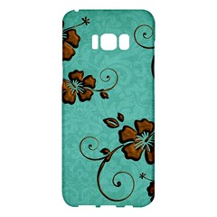 Chocolate Background Floral Pattern Samsung Galaxy S8 Plus Hardshell Case