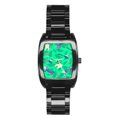 Pattern Seamless Background Desktop Stainless Steel Barrel Watch by Nexatart