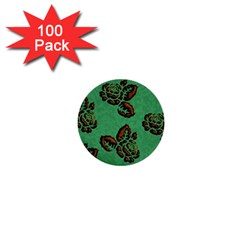 Chocolate Background Floral Pattern 1  Mini Buttons (100 Pack)