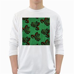 Chocolate Background Floral Pattern White Long Sleeve T Shirts