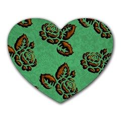 Chocolate Background Floral Pattern Heart Mousepads by Nexatart