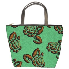Chocolate Background Floral Pattern Bucket Bags by Nexatart
