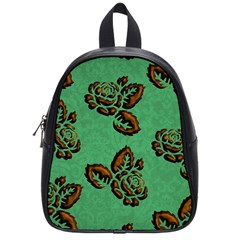 Chocolate Background Floral Pattern School Bag (small)