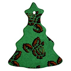 Chocolate Background Floral Pattern Christmas Tree Ornament (two Sides) by Nexatart