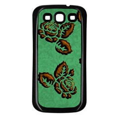 Chocolate Background Floral Pattern Samsung Galaxy S3 Back Case (black)