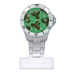 Chocolate Background Floral Pattern Plastic Nurses Watch by Nexatart
