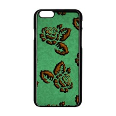 Chocolate Background Floral Pattern Apple Iphone 6/6s Black Enamel Case