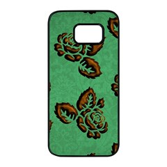 Chocolate Background Floral Pattern Samsung Galaxy S7 Edge Black Seamless Case