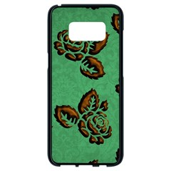 Chocolate Background Floral Pattern Samsung Galaxy S8 Black Seamless Case by Nexatart