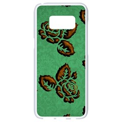 Chocolate Background Floral Pattern Samsung Galaxy S8 White Seamless Case by Nexatart