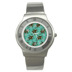 Chocolate Background Floral Pattern Stainless Steel Watch