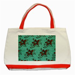 Chocolate Background Floral Pattern Classic Tote Bag (red) by Nexatart
