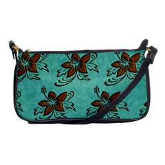 Chocolate Background Floral Pattern Shoulder Clutch Bags by Nexatart