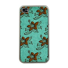 Chocolate Background Floral Pattern Apple Iphone 4 Case (clear) by Nexatart