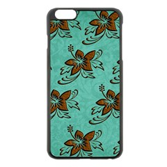 Chocolate Background Floral Pattern Apple Iphone 6 Plus/6s Plus Black Enamel Case