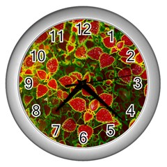 Flower Red Nature Garden Natural Wall Clocks (silver)  by Nexatart