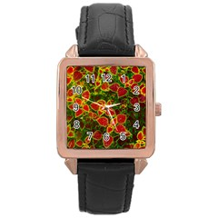 Flower Red Nature Garden Natural Rose Gold Leather Watch  by Nexatart