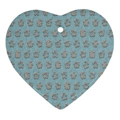 Texture Background Beige Grey Blue Ornament (heart) by Nexatart