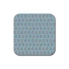 Texture Background Beige Grey Blue Rubber Square Coaster (4 Pack)