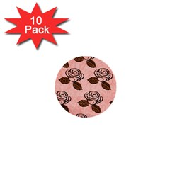 Chocolate Background Floral Pattern 1  Mini Buttons (10 Pack)