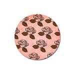 Chocolate Background Floral Pattern Magnet 3  (Round) Front