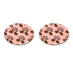 Chocolate Background Floral Pattern Cufflinks (oval) by Nexatart
