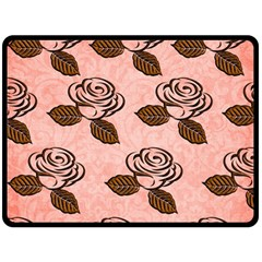 Chocolate Background Floral Pattern Fleece Blanket (large)