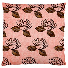 Chocolate Background Floral Pattern Large Cushion Case (two Sides) by Nexatart