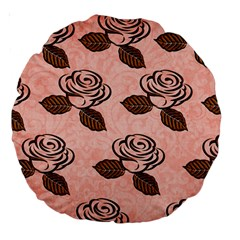 Chocolate Background Floral Pattern Large 18  Premium Round Cushions