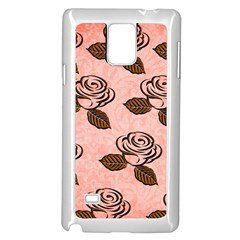 Chocolate Background Floral Pattern Samsung Galaxy Note 4 Case (white) by Nexatart