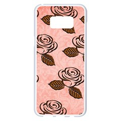 Chocolate Background Floral Pattern Samsung Galaxy S8 Plus White Seamless Case by Nexatart