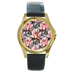 Water Lily Background Pattern Round Gold Metal Watch