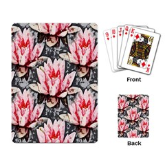 Water Lily Background Pattern Playing Card