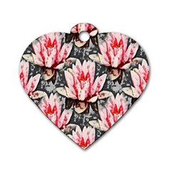 Water Lily Background Pattern Dog Tag Heart (two Sides) by Nexatart