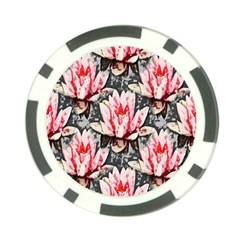 Water Lily Background Pattern Poker Chip Card Guard (10 Pack)