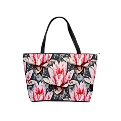 Water Lily Background Pattern Shoulder Handbags by Nexatart