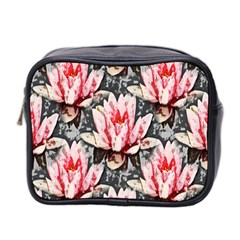 Water Lily Background Pattern Mini Toiletries Bag 2 Side