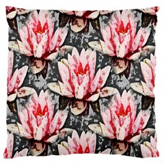 Water Lily Background Pattern Large Cushion Case (one Side) by Nexatart