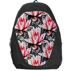 Water Lily Background Pattern Backpack Bag by Nexatart