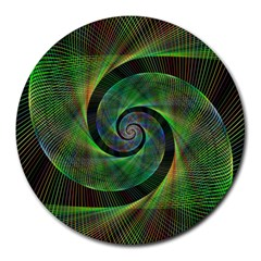 Green Spiral Fractal Wired Round Mousepads