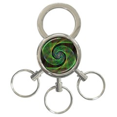 Green Spiral Fractal Wired 3 Ring Key Chains by Nexatart
