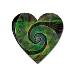 Green Spiral Fractal Wired Heart Magnet by Nexatart