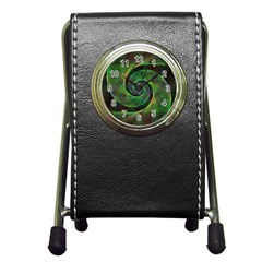 Green Spiral Fractal Wired Pen Holder Desk Clocks
