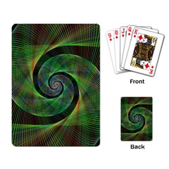 Green Spiral Fractal Wired Playing Card by Nexatart