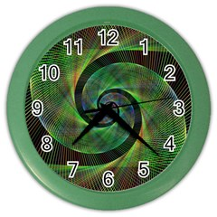 Green Spiral Fractal Wired Color Wall Clocks
