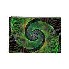 Green Spiral Fractal Wired Cosmetic Bag (large)  by Nexatart