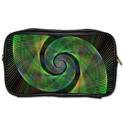 Green Spiral Fractal Wired Toiletries Bags by Nexatart