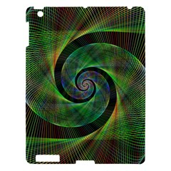 Green Spiral Fractal Wired Apple Ipad 3/4 Hardshell Case by Nexatart