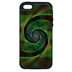 Green Spiral Fractal Wired Apple Iphone 5 Hardshell Case (pc+silicone) by Nexatart