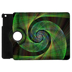 Green Spiral Fractal Wired Apple Ipad Mini Flip 360 Case